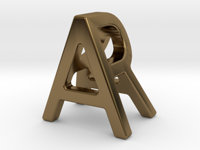 AR RA - Two way letter pendant in Polished Bronze