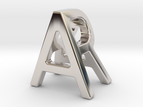 AR RA - Two way letter pendant in Rhodium Plated Brass