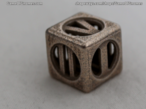 Hollow Dice Numerals in Polished Bronzed Silver Steel