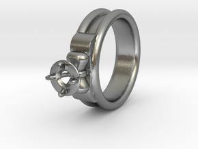 Ø17.50 Mm Diamond Ring Ø4.8 Mm Fit in Natural Silver