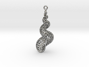 Turitella SeaShell Voronoi Pattern - elongated in Natural Silver