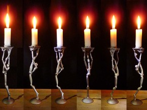 Striding man - 3D printed  candleholder in Polished Bronzed Silver Steel