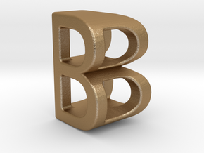Two way letter pendant - BB B in Matte Gold Steel