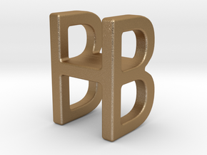 Two way letter pendant - BH HB in Matte Gold Steel