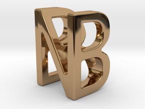 Two way letter pendant - BN NB in Polished Brass
