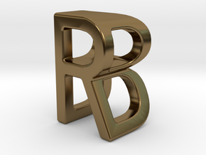 Two way letter pendant - BR RB in Polished Bronze