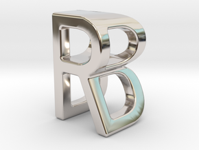 Two way letter pendant - BR RB in Rhodium Plated Brass