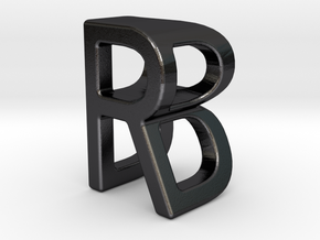 Two way letter pendant - BR RB in Polished and Bronzed Black Steel