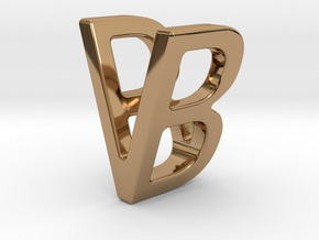 Two way letter pendant - BV VB in Polished Brass