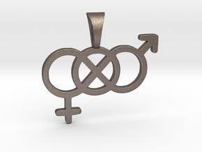 Genderfluid / Genderqueer Pride Symbol Pendant in Polished Bronzed Silver Steel