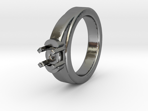 Ø16.20 Mm Diamond Ring Ø7 Mm Fit in Polished Silver