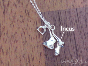 Ossicle Pendant - Incus (right sided) in Polished Silver