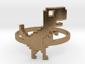 8-Bit T-rex Ring in Raw Brass: 6 / 51.5