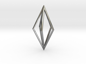 Diamond Pendant mk1 in Fine Detail Polished Silver