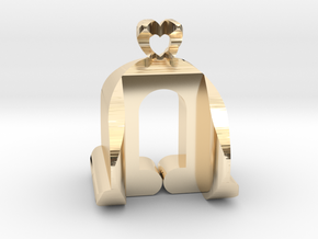 I♥U Shape 2 - View 3 in 14k Gold Plated Brass