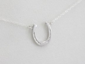 Horseshoe Pendant in Rhodium Plated Brass