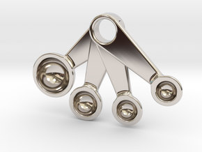 Measuring Spoons Pendant in Rhodium Plated Brass