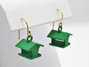 Open Bird Feeder Earrings in Green Processed Versatile Plastic