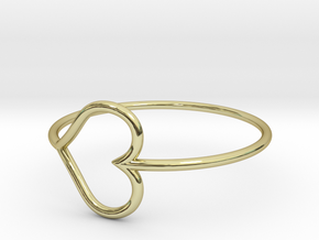 Size 10 Love Heart in 18k Gold Plated Brass