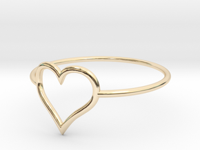 Size 6 Love Heart A in 14K Yellow Gold