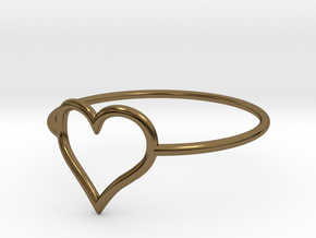 Size 7 Love Heart A in Polished Bronze