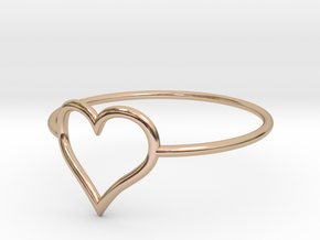 Size 7 Love Heart A in 14k Rose Gold Plated Brass