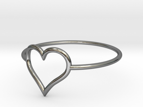 Size 7 Love Heart A in Fine Detail Polished Silver