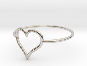 Size 10 Love Heart A in Rhodium Plated Brass