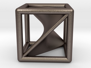 Segre embedding in a cube (XXL). in Polished Bronzed Silver Steel