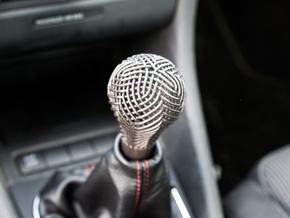 Woven Gear Shifter Knob in Polished and Bronzed Black Steel