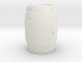 Barrel 60 Gal - HO 87:1 Scale in White Natural Versatile Plastic