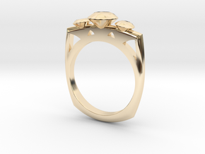 FJ ThreeStoneMagicSetting Square2 in 14K Gold