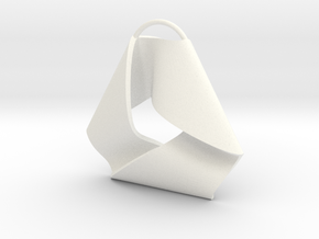 Mobius Triangle Pendant (Large) in White Processed Versatile Plastic