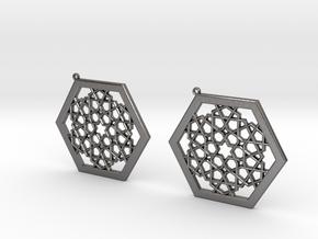 J&M Islamic Inspired Geometric Earrings in Polished Nickel Steel