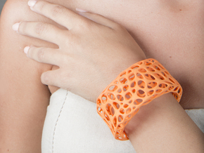 Cells Cuff (Size L) in Orange Strong & Flexible Polished