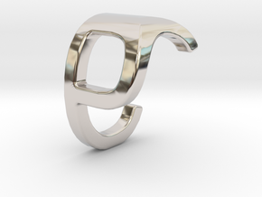 Two way letter pendant - CP PC in Rhodium Plated Brass