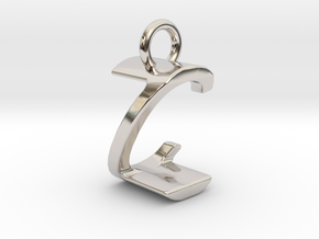 Two way letter pendant - CZ ZC in Rhodium Plated Brass