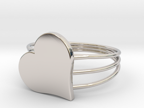 Size 6 Heart For ALL in Rhodium Plated Brass