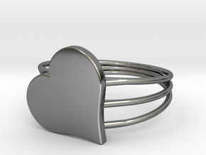 Size 6 Heart For ALL in Fine Detail Polished Silver