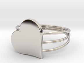 Size 9 Heart For ALL in Rhodium Plated Brass