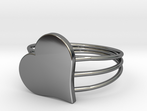 Size 11 Heart For ALL in Fine Detail Polished Silver
