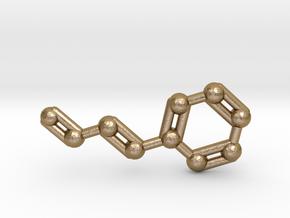 Cinnamaldehyde (Cinnamon) Molecule Keychain in Polished Gold Steel