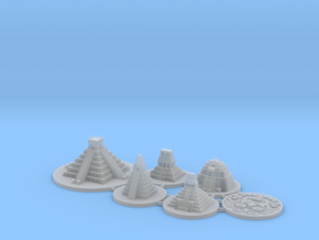 Mayan Pyramids and Calendar center (6 pcs) in Smooth Fine Detail Plastic