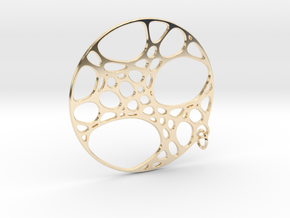 Cellular Pendant 25mm in 14K Yellow Gold