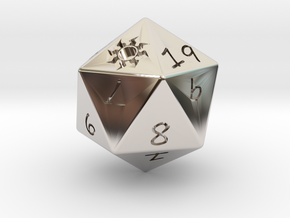 D20 Plains in Rhodium Plated Brass: Medium
