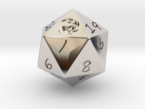 D20 Mountain in Rhodium Plated Brass: Medium