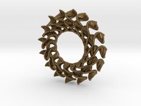 DNA Flower 16-Petal Pendant in Natural Bronze
