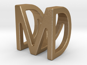 Two way letter pendant - DM MD in Matte Gold Steel