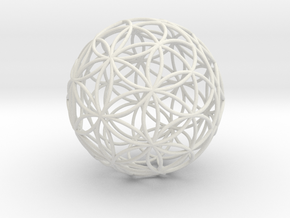 3D 50mm Orb of Life (3D Flower of Life)  in White Natural Versatile Plastic