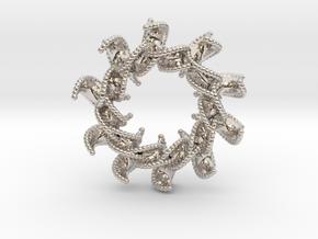 DNA Flower 12-Petal Pendant in Rhodium Plated Brass